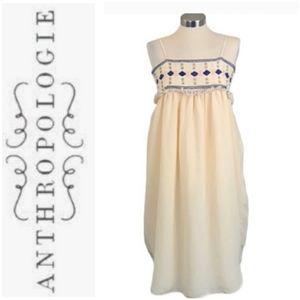 Anthropologie Pepin Embellished Tank Dress Cream